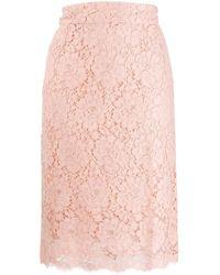 Dolce & Gabbana Kokerrok Met Bloemenkant - Roze