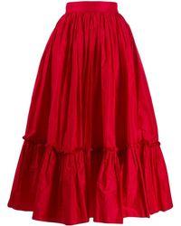 Dolce & Gabbana Ruched Hem Full Skirt - Red