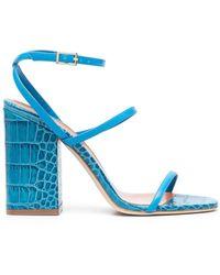 Paris Texas Sandalen mit Kroko-Effekt - Blau