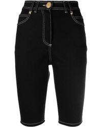 Balmain Contrast-stitch Knee-length Shorts - Black