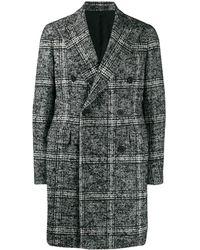 Tagliatore Двубортное Пальто В Клетку Тартан - Черный