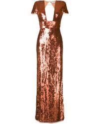 Elisabetta Franchi Vestido de noche con bordado con lentejuelas - Naranja