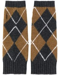 Pringle of Scotland Argyle Print Gloves - Gray