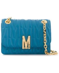 Moschino Logo Quilted Crossbody Bag - ブルー