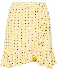 Ganni - Daisy Print Asymmetric Wrap Skirt - Lyst