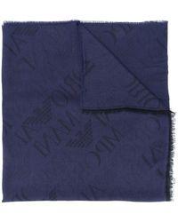 Emporio Armani モノグラム スカーフ - ブルー