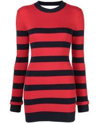 Monse Vestido a rayas con detalle de cortes - Rojo