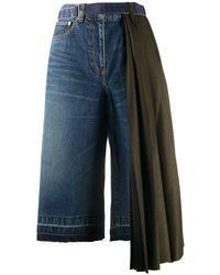 Sacai Draped Side Knee-length Shorts - Blue