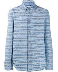 Balmain ロゴ デニムシャツ - ブルー