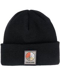 Raeburn Ribbed-knit Logo Patch Beanie - Black