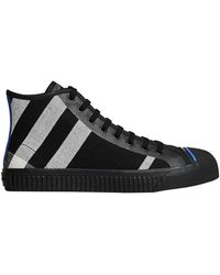 Burberry | Canvas Check And Leather High-top Sneakers | Lyst