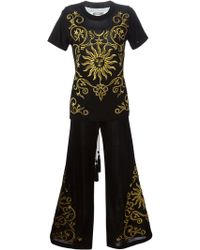 Moschino Sun Embroidered Top And Pants - Black