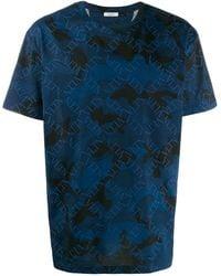 Valentino Logo Camouflage Print T-shirt - Blue