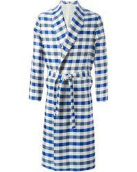 La Perla Long Checked Night Robe - Blue