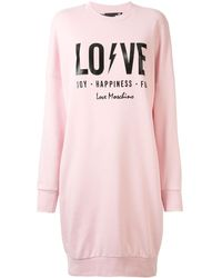 Love Moschino プリント スウェットワンピース - ピンク