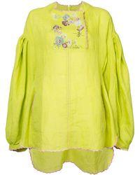 Natasha Zinko Top bordado estilo túnica - Amarillo