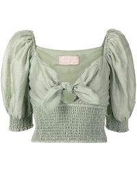 Keepsake Cropped Tie-fastening Blouse - Green