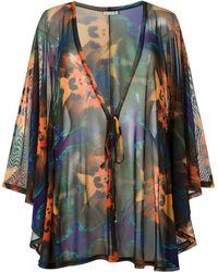 Blue Man Print Beach Dress - Black