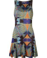 Blue Man Graphic Flared Dress - Blue