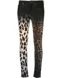 R13 Leopard Print Skinny Jeans - Black