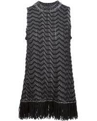 Proenza Schouler Sleeveless Fringe-trim Jacquard Sweater - Black