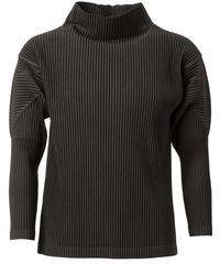Homme Plissé Issey Miyake - Pleated Funnel Neck Jumper - Lyst