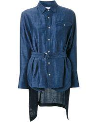 Fad Three - Blue Asymmetric Linen-Blend Shirt - Lyst