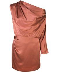 Michelle Mason ワンショルダーミニドレス - ブラウン
