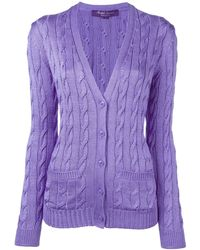 Ralph Lauren Purple Label Cable Knit Button Down Cardigan - Pink