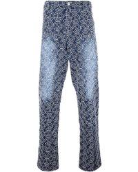 Telfar Embroidered Logo Wide Leg Jeans - Blue