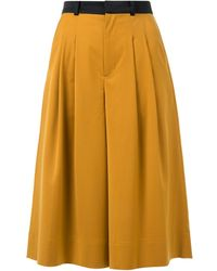 Loveless - Contrast Waist Pleated Culottes - Lyst