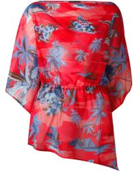 DSquared² Palm Tree Print Cotton and Silk-Blend Kaftan - Red