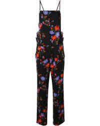 N°21 Floral-print Square-neck Crepe Jumpsuit - Black