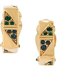 Nina Ricci Coloured Gemstone Clip-on Earrings - Metallic