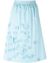 Jimi Roos Flowers Appliqué Skirt - Blue