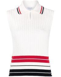 Thom Browne Rwb ファインニット ポロシャツ - ホワイト