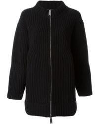 DSquared² Oversize Ribbed Zip-up Knit - Black