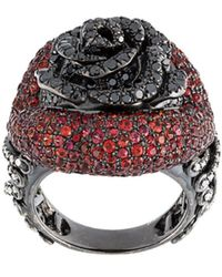 Lydia Courteille - Rose Diamond And Sapphire Ring - Lyst
