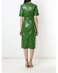 EVA Leather Wrap Dress - Green