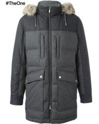 Brunello Cucinelli Padded Hooded Coat - Grey