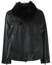 Proenza Schouler Faux Fur Collar Jacket - Black