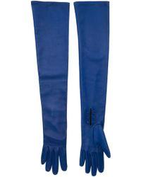 Oscar de la Renta Long Buttoned Gloves - Blue