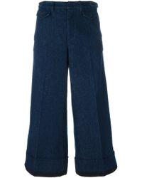 N°21 Cropped Wide Leg Jeans - Blue