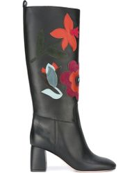 RED Valentino Floral Leather Knee-High Boots - Black