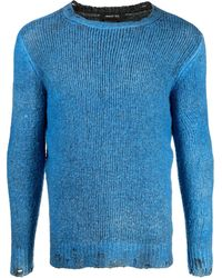 Avant Toi Ribbed-knit Crew Neck Sweater - Blue