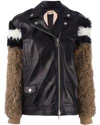 N°21 No21 Fur Sleeves Leather Jacket - Black