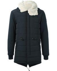 EA7 Furred Collar Padded Coat - Black