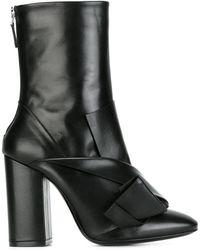 N°21 Chunky Heel Pointy Boots - Black