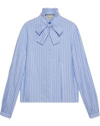 Gucci - Cotton Shirt With Pinstripe - Lyst