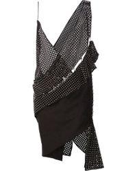 Anthony Vaccarello Asymmetric V-neck Dress - Black